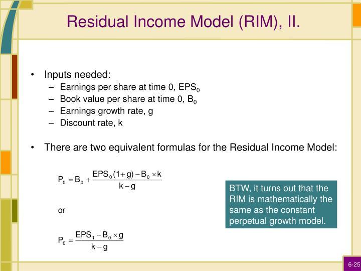 Residual Income Model (RIM), II.