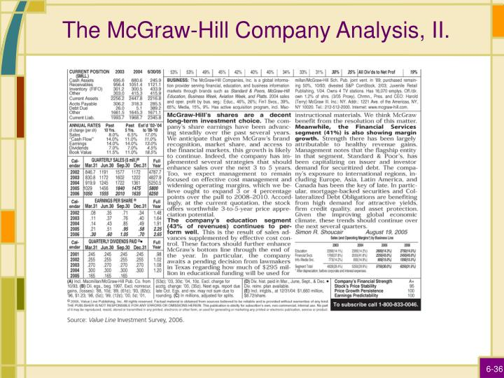 The McGraw-Hill Company Analysis, II.