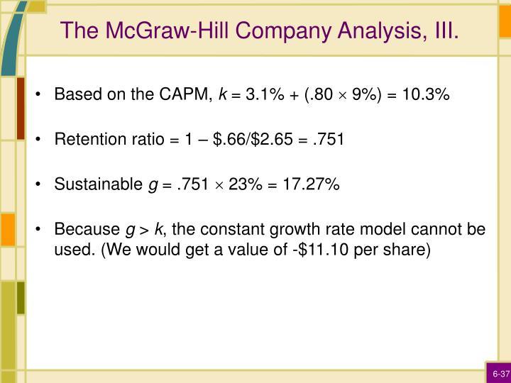 The McGraw-Hill Company Analysis, III.