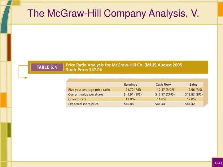 The McGraw-Hill Company Analysis, V.