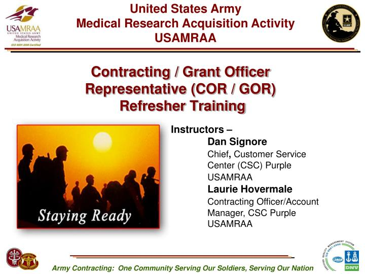 contracting grant officer representative cor gor refresher training n.