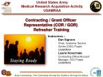 contracting grant officer representative cor gor refresher training