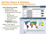 ad hoc query analysis designed for users to help themselves