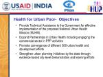 health for urban poor objectives