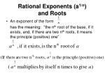 rational exponents a 1 n and roots
