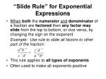 slide rule for exponential expressions