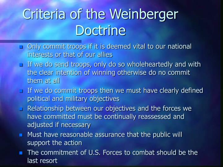 Criteria of the Weinberger Doctrine