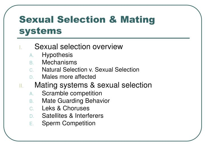 sexual selection mating systems n.