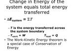 change in energy of the system equals total energy transferred
