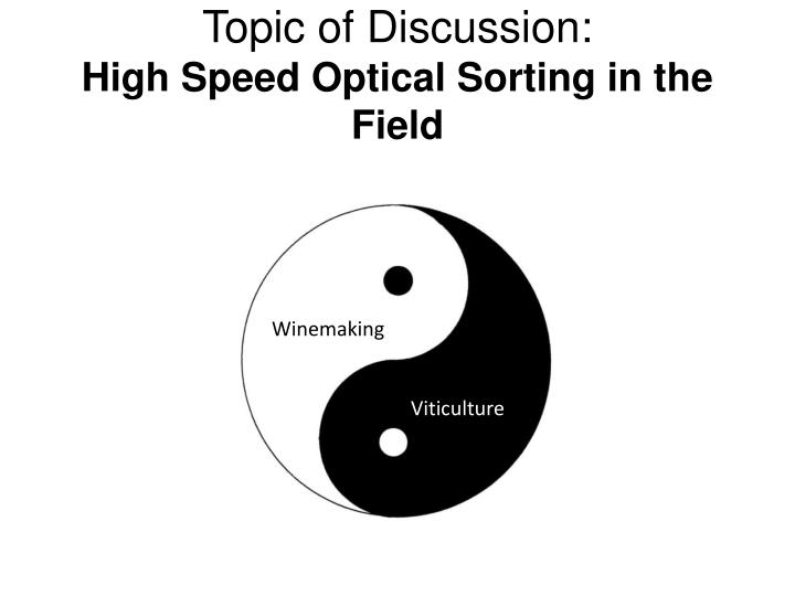 topic of discussion high speed optical sorting in the field n.