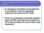can an interagency committee be beneficial to an irt