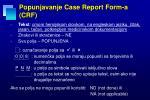 popunjavanje case report form a crf