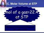 c molar volume at stp