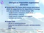 changes in responsible organization and funds