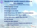 results from specific research efforts or test programs
