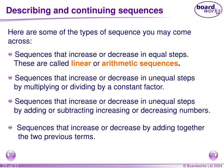 Describing and continuing sequences
