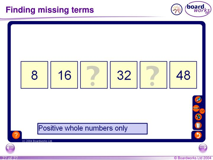 Finding missing terms