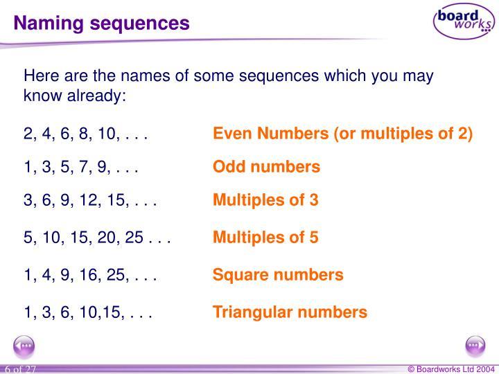 Naming sequences