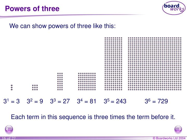 Powers of three