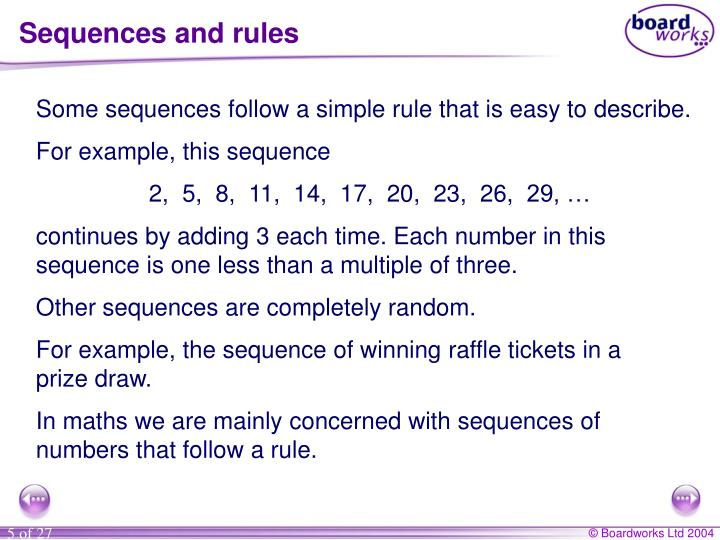 Sequences and rules