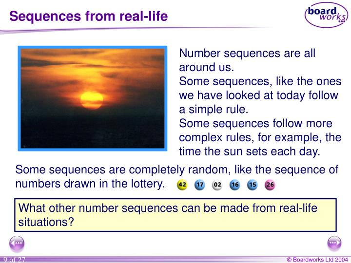 Sequences from real-life