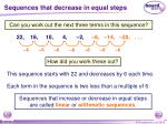 sequences that decrease in equal steps