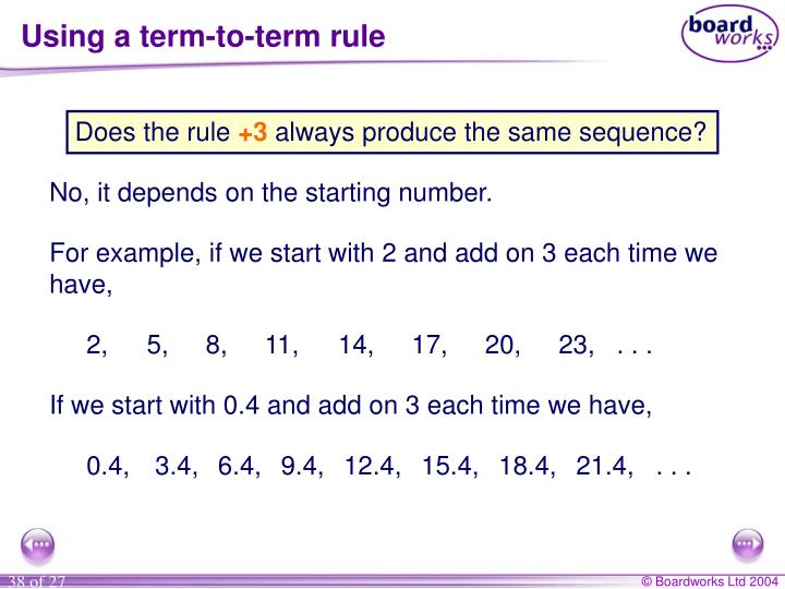 Using a term-to-term rule
