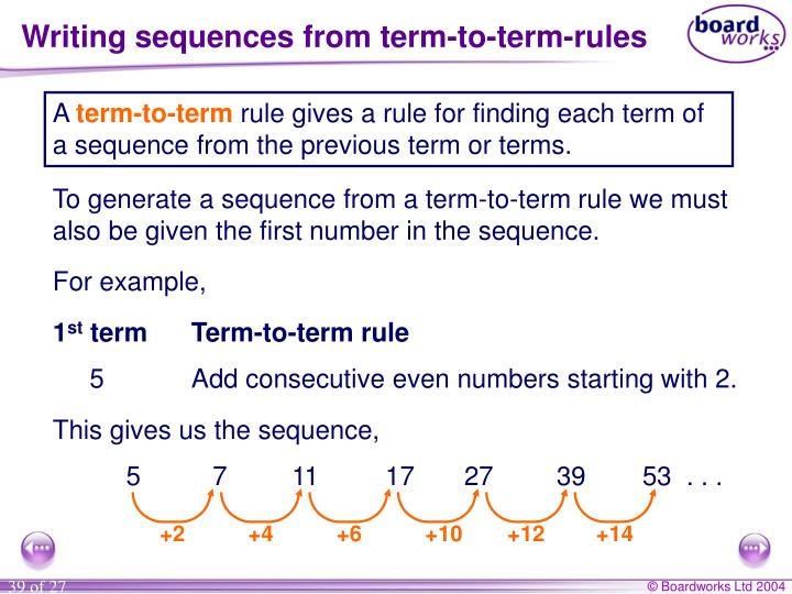Writing sequences from term-to-term-rules