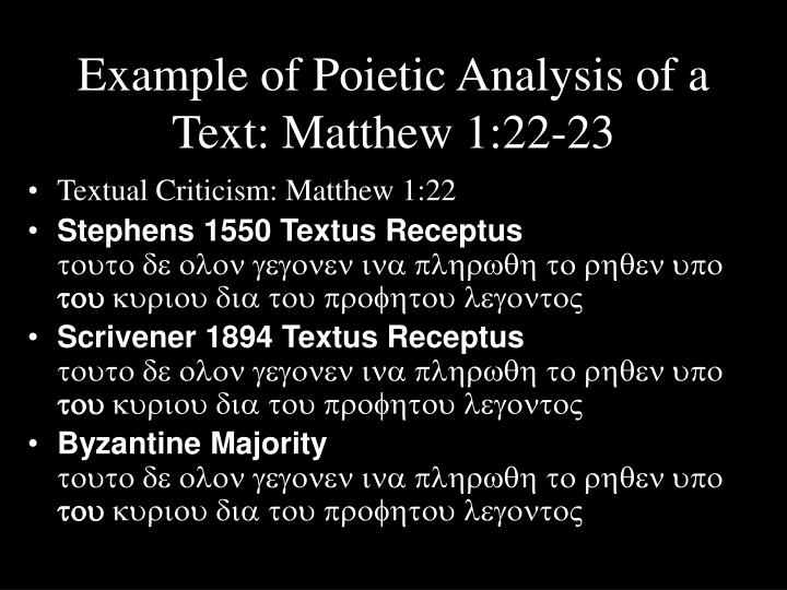Example of Poietic Analysis of a Text: Matthew 1:22-23