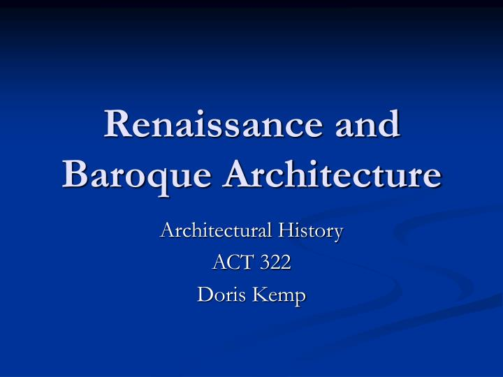 renaissance and baroque architecture n.