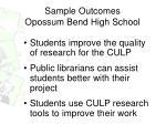 sample outcomes opossum bend high school