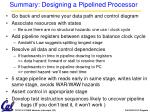 summary designing a pipelined processor