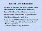 role of law in business