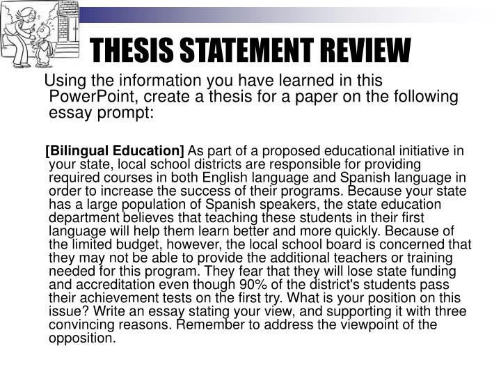 THESIS STATEMENT REVIEW