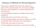 summary of methods for solving equations