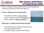 osd guidance dod mission in foreign disaster relief