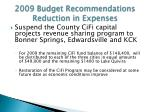 2009 budget recommendations reduction in expenses1