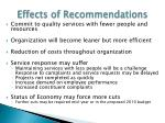 effects of recommendations