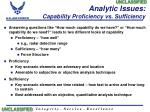 analytic issues capability proficiency vs sufficiency