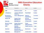recent bbs executive education clients