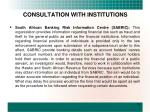 consultation with institutions