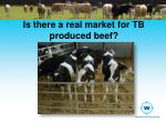 is there a real market for tb produced beef