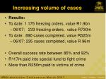 increasing volume of cases