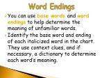 word endings