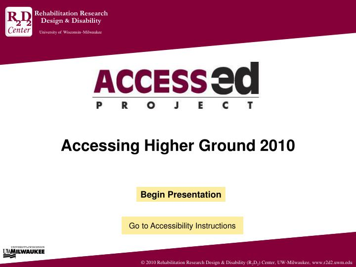 accessing higher ground 2010 n.