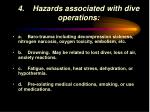 4 hazards associated with dive operations