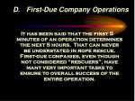 d first due company operations