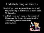 redistributing on grants