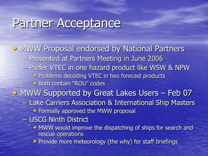 Partner Acceptance