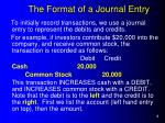 the format of a journal entry